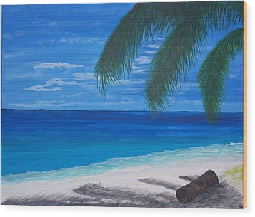 In The Shade Of A Palm Wood Print by Nancy Nuce