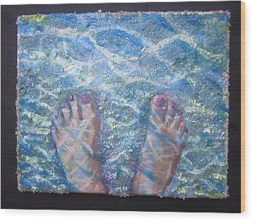 Wood Print featuring the painting In The Water by Tilly Strauss