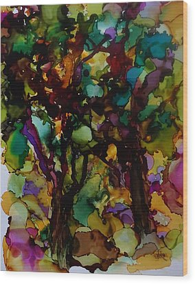 In The Woods Wood Print by Alika Kumar