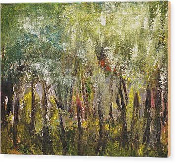 Wood Print featuring the painting In The Woods by Evelina Popilian