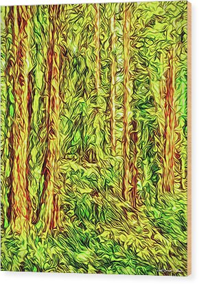 Wood Print featuring the digital art In The Woods - Forest Trees Vashon Island Washington by Joel Bruce Wallach