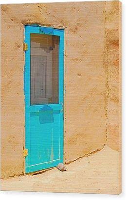 In Through The Blue Door Wood Print