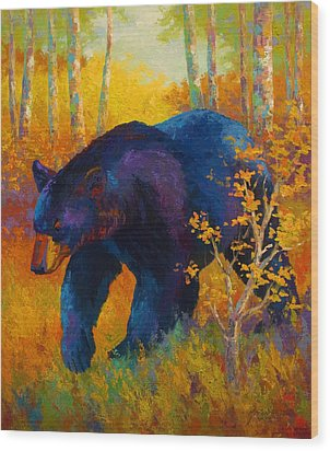 In To Spring - Black Bear Wood Print by Marion Rose