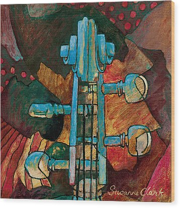 In Tune - String Instrument Scroll In Blue Wood Print by Susanne Clark
