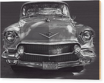In Your Face - 1956 Cadillac Bw Wood Print