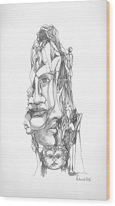 Wood Print featuring the drawing In Your Head by Padamvir Singh