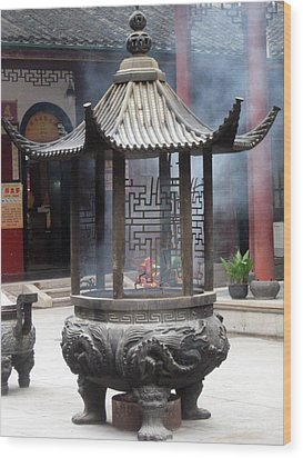 Incense Burner Shanghai Wood Print by Lisa Boyd