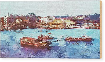Wood Print featuring the digital art Inchon Harbor by Dale Stillman