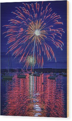 Wood Print featuring the photograph Independence Day In Boothbay Harbor by Rick Berk