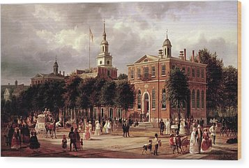 Wood Print featuring the painting Independence Hall by Ferdinand Richardt