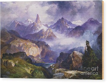 Index Peak Yellowstone National Park Wood Print by Thomas Moran