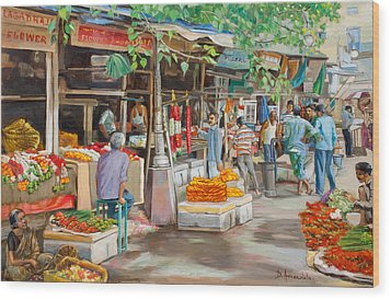 India Flower Market Street Wood Print by Dominique Amendola