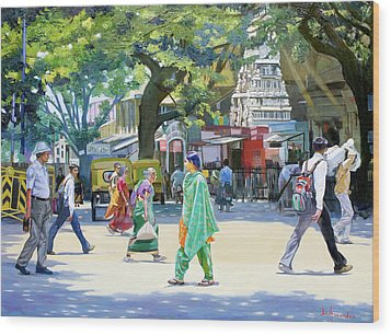 India Street Scene 2 Wood Print by Dominique Amendola