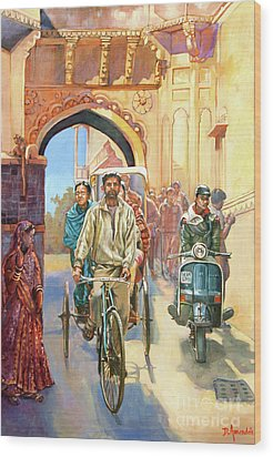 India Street Scene With A Bicycle Rickshaw Wood Print by Dominique Amendola