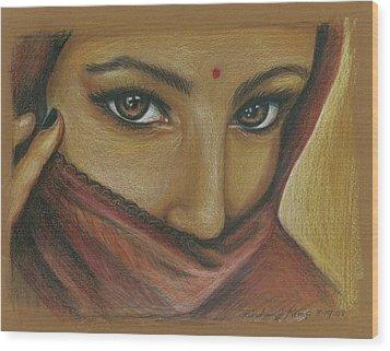 India Woman Wood Print