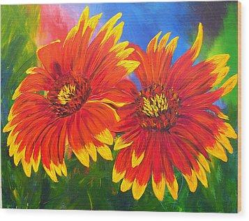 Indian Blanket Flowers Wood Print by Mary Jo Zorad