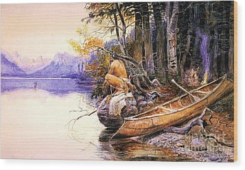 Indian Camp Lake Mcdonald Wood Print by Pg Reproductions