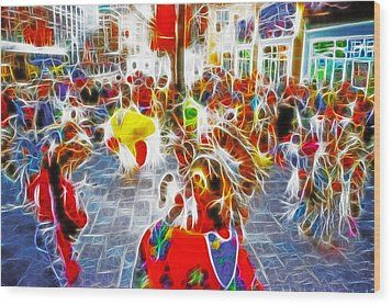 Indian Ceremonial Dance - 2002 Winter Olympics Wood Print by Steve Ohlsen