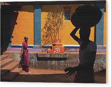 Indian Colors Wood Print by Marji Lang