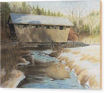 Indian Creek Covered Bridge Wood Print by James Clewell