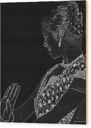Indian Dancer  Wood Print
