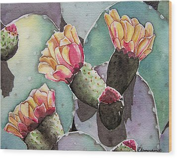 Indian Fig Cactus Wood Print by Regina Ammerman