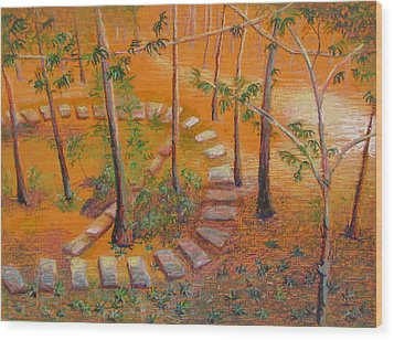Indian Garden Wood Print by Art Nomad Sandra  Hansen