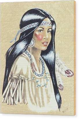 Indian Girl Wood Print by George I Perez