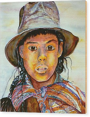 Indian Girl Wood Print by Norma Boeckler