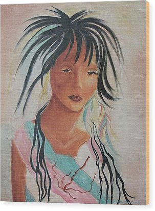 Indian Girl Wood Print by Suzanne  Marie Leclair
