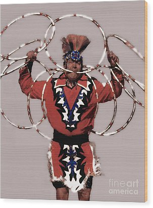 Indian Hoop Dancer 3 Wood Print by Linda  Parker