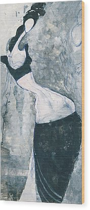 Wood Print featuring the painting Indian Lady by Maya Manolova