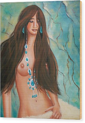 Indian Maiden In Turquoise Wood Print by Joni McPherson