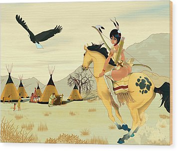 Indian On Horse Wood Print