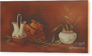 Indian Pottery With Wheat Wood Print by Ann Kleinpeter
