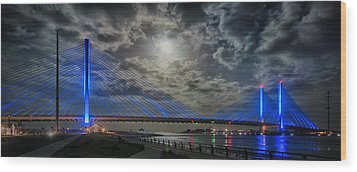 Indian River Bridge Moonlight Panorama Wood Print by Bill Swartwout