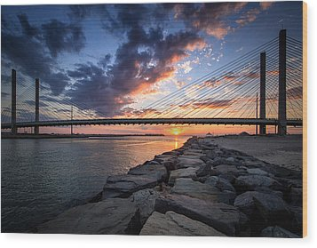Indian River Inlet And Bay Sunset Wood Print