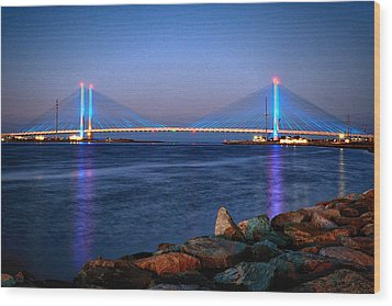 Indian River Inlet Bridge Twilight Wood Print by Bill Swartwout
