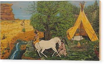 Indian Romance Wood Print by V Boge