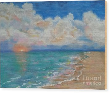 Wood Print featuring the pastel Indian Shores by Vickie Scarlett-Fisher