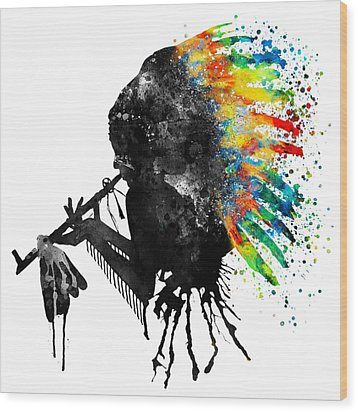 Indian Silhouette With Colorful Headdress Wood Print