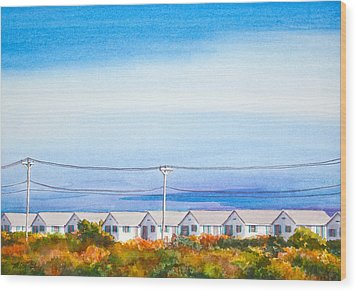Indian Summer Days Cottages North Truro Massachusetts Watercolor Painting Wood Print
