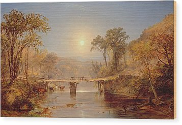 Indian Summer On The Delaware River Wood Print by Jasper Francis Cropsey