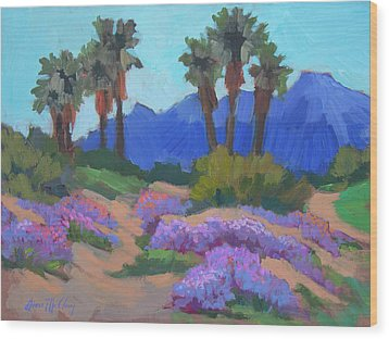Wood Print featuring the painting Indian Wells Verbena by Diane McClary