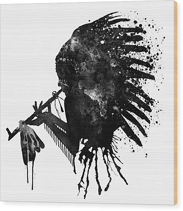 Wood Print featuring the mixed media Indian With Headdress Black And White Silhouette by Marian Voicu