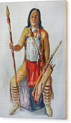 Indian With Spear And Arrows Wood Print by Murray Keshner