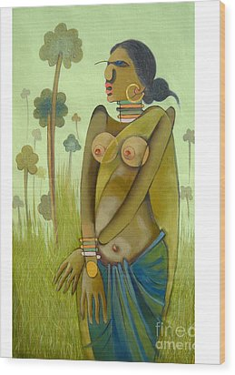 Indian Woman Wood Print by Praveen Dhenge