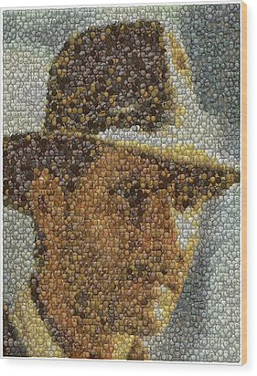 Wood Print featuring the mixed media Indiana Jones Treasure Coins Mosaic by Paul Van Scott