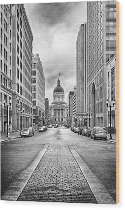 Indiana State Capitol Building Wood Print by Howard Salmon