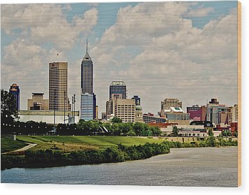 Indianapolis Skyline 25 Wood Print by David Haskett